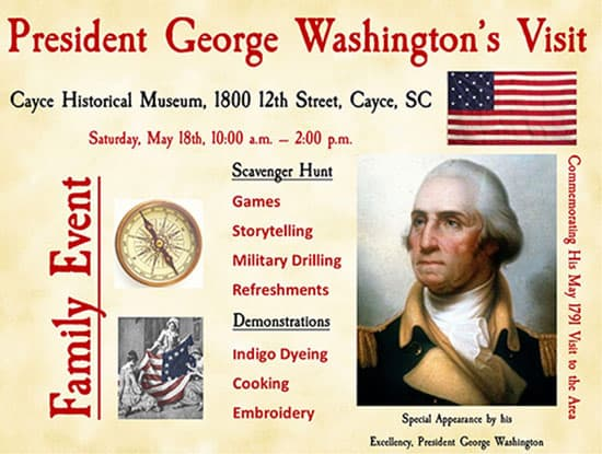 Washington Event May 18 10AM at Cayce Museum
